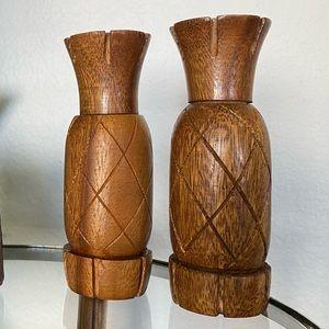 Hand Carved Wooden Pineapple Salt & Pepper Shakers